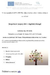 Pozvánka na webinář Bezpečnost (nejen) dětí v digitální džungli